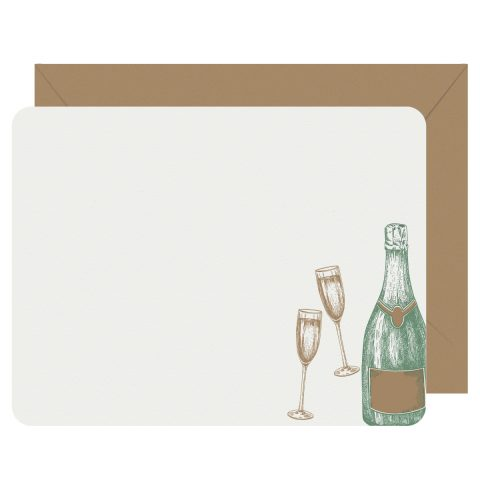 Cheers Champagne Letterpress Jess Notecards