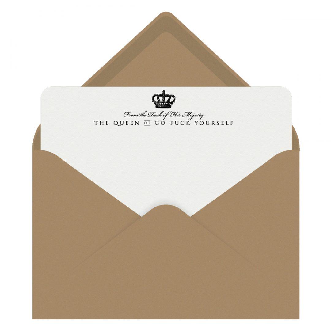 Queen of Go Fuck Yourself Letterpress Jess Notecards