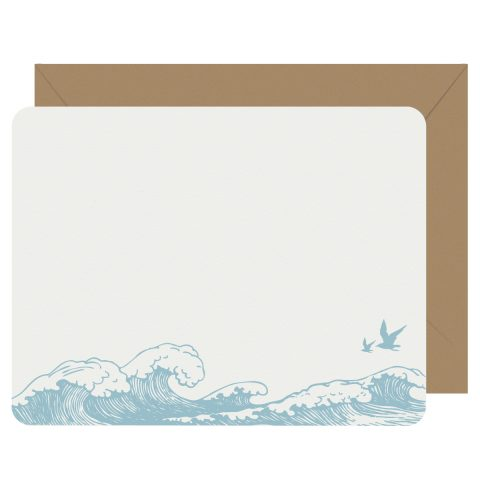 Ocean Breeze Letterpress Jess Notecards
