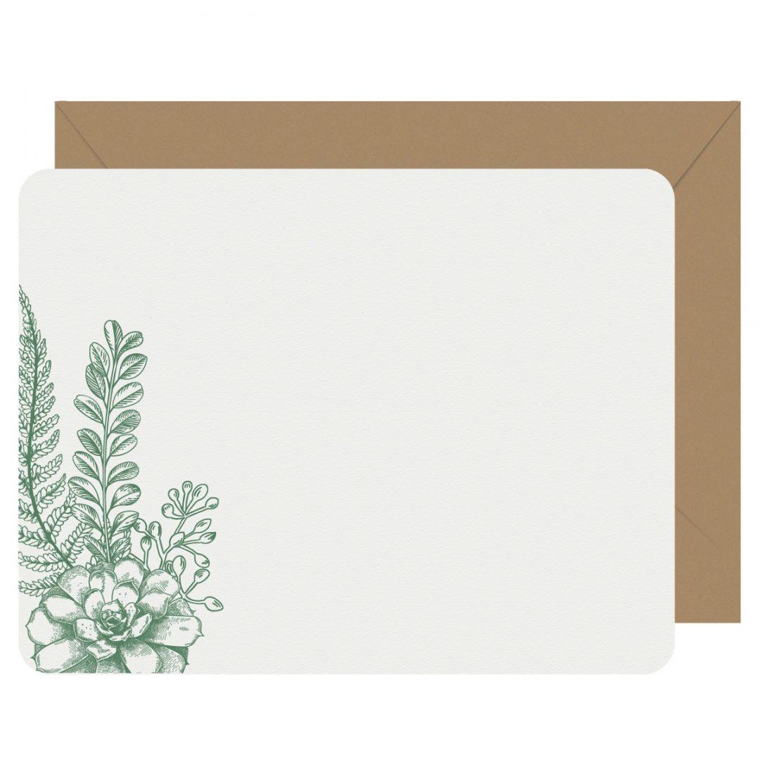 Succulent & Fern Letterpress Jess Notecards