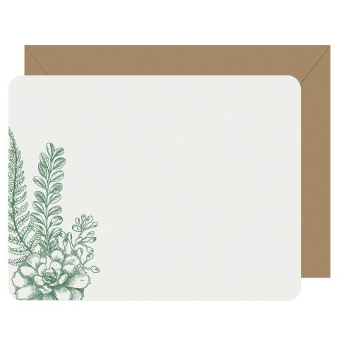 Succulent & Fern Letterpress Jess Notecards