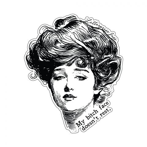 Bitch Face Gibson Girl Sticker by Letterpress Jess