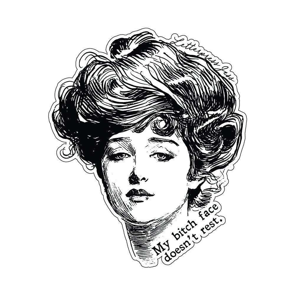 Bitch Face Gibson Girl Sticker by Letterpress Jess
