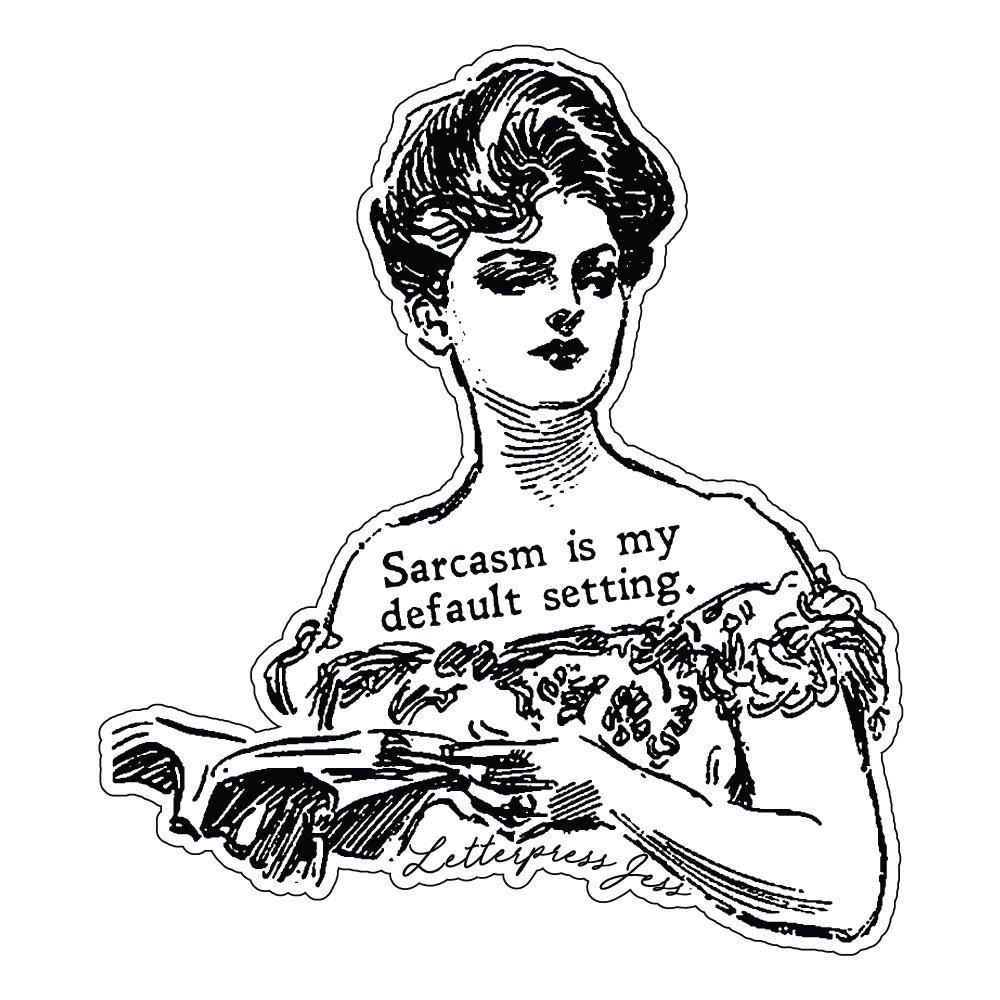 Sarcasm Gibson Girl Sticker by Letterpress Jess