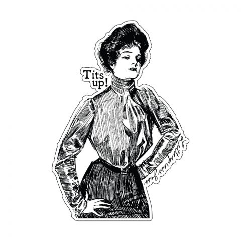 Tits Up Gibson Girl Sticker by Letterpress Jess