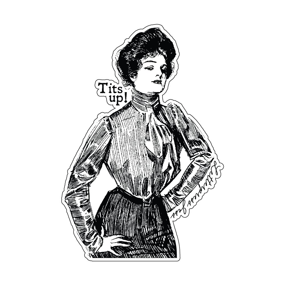 Tits Up Gibson Girl Sticker by Letterpress Jess