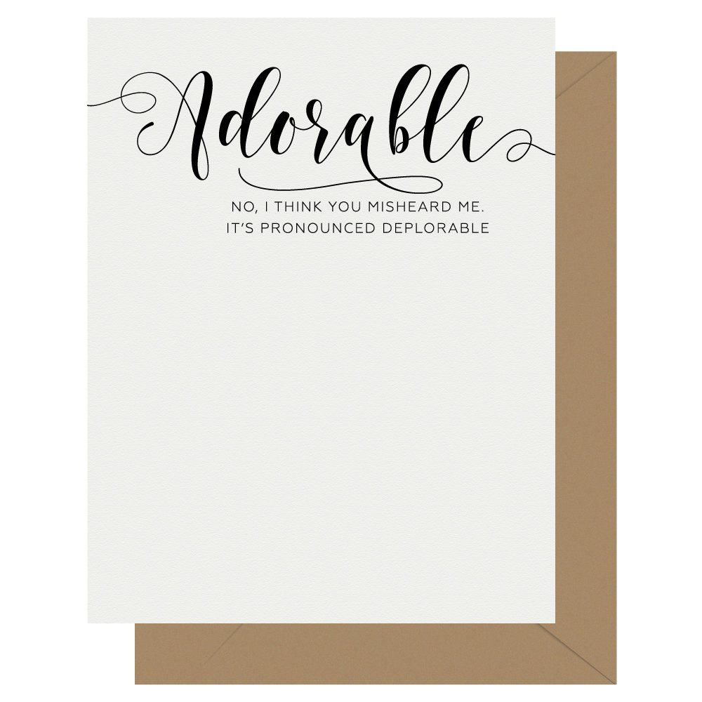 Adorable Crass Calligraphy Letterpress Greeting Card