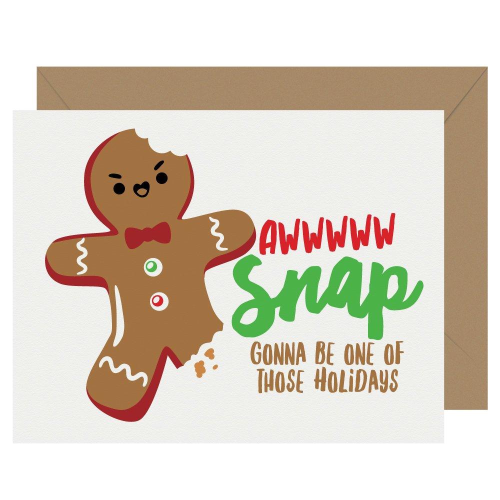 Aww Snap Cutie Kawaii Letterpress Holiday Card