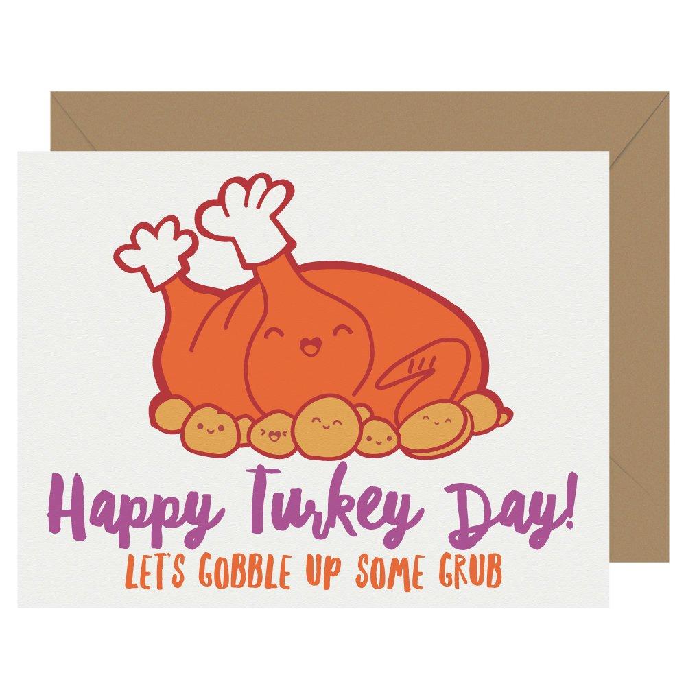 Turkey Day Cutie Kawaii Letterpress Thanksgiving Card