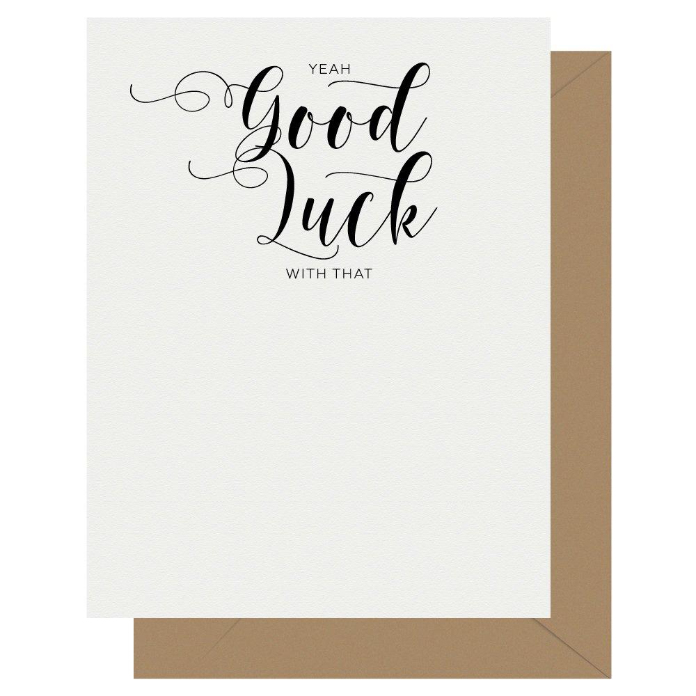 Good Luck Crass Calligraphy Letterpress Card Crass Calligraphy Letterpress Greeting Card