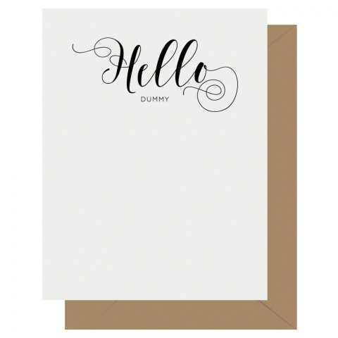 Hello Crass Calligraphy Letterpress Greeting Card