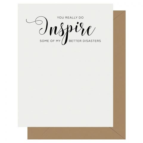 Inspire Crass Calligraphy Letterpress Greeting Card