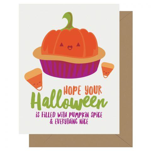 Pumpkin Spice Cutie Kawaii Letterpress Halloween Card