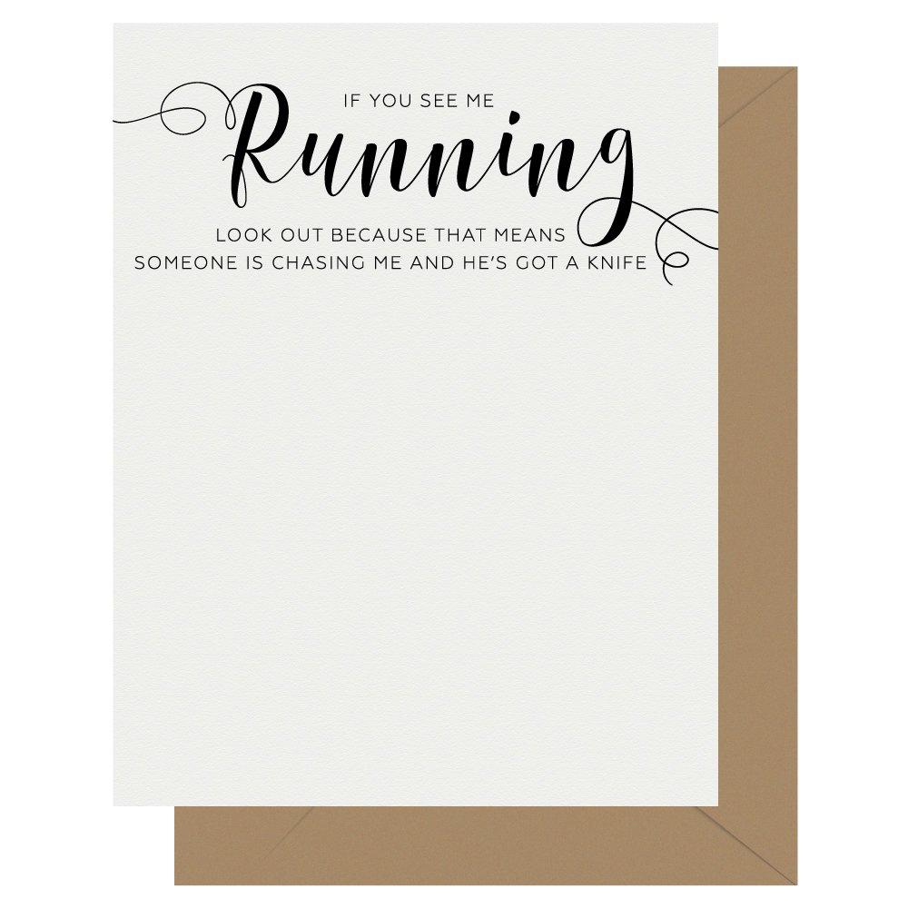 Running Crass Calligraphy Letterpress Greeting Card