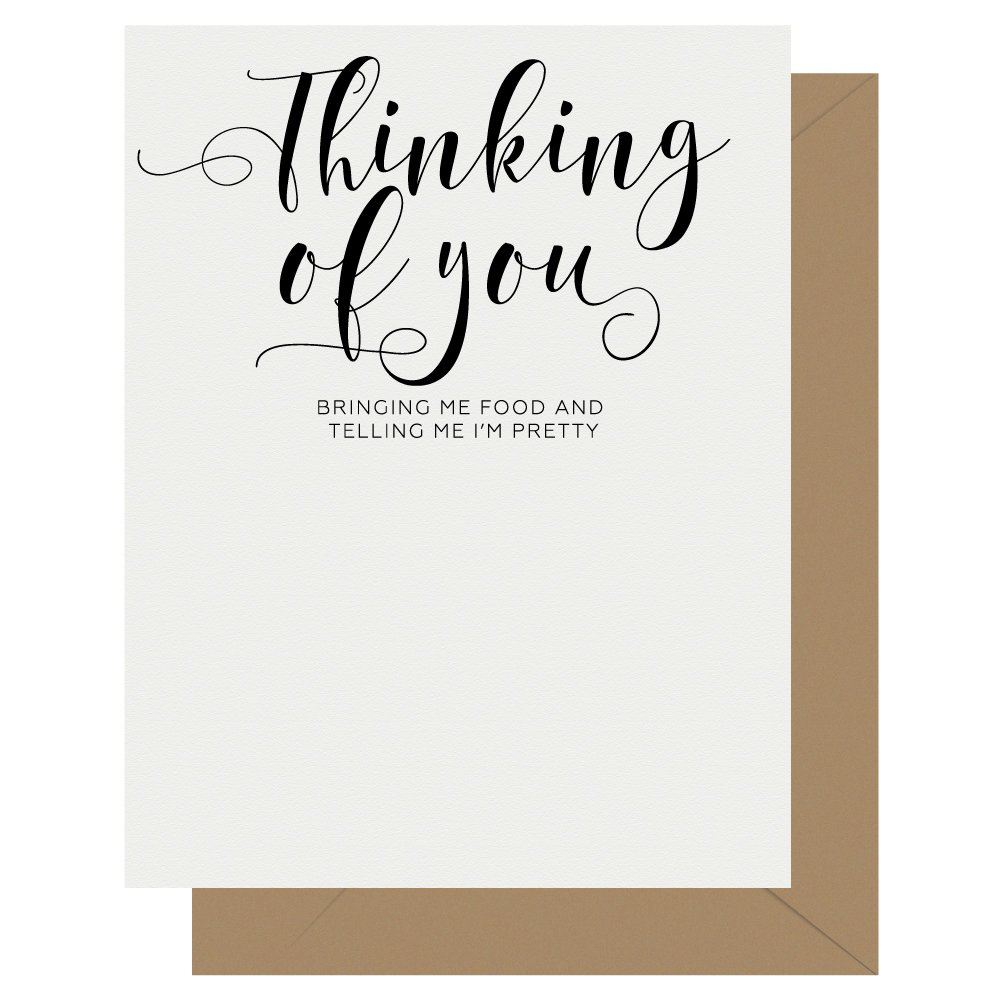 Thinking of You Crass Calligraphy Letterpress Greeting Card